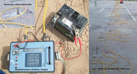Detalle del resistívimetro, conexión cable electrodo y perfil de tomografía eléctrica.